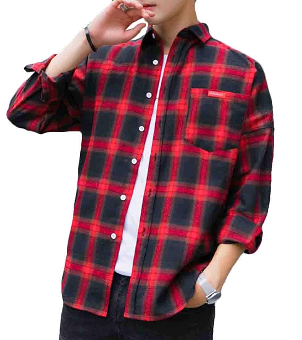 Qiangjinjiu Mens Cotton Tops Long-Sleeves Regular Fit Western Plaid Button Down Tops