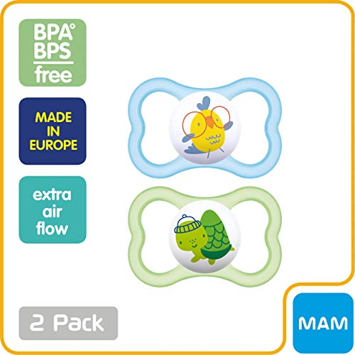 MAM Air Pacifiers (2 Pack, 1 Sterilizing Pacifier Case), MAM Sensitive Skin Pacifier 6+ Months, Best Pacifier for Breastfed Babies, Baby Pacifiers, Baby Boy