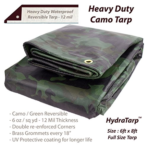 Heavy Duty Waterproof Camo Tarp - Reversible Camouflage/Green Vinyl Tarp - 6x8 with UV Protection for Outdoor Camping RV Truck and Trailers ()