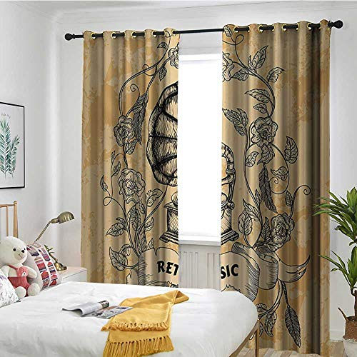 TRTK Restaurant Curtain The Curtains in The Bedroom are Darkened Vintage,Drawing of Nostalgic Gramophone Vinyl Rose Petals Leaves with Retro Music Banner,Orange Black