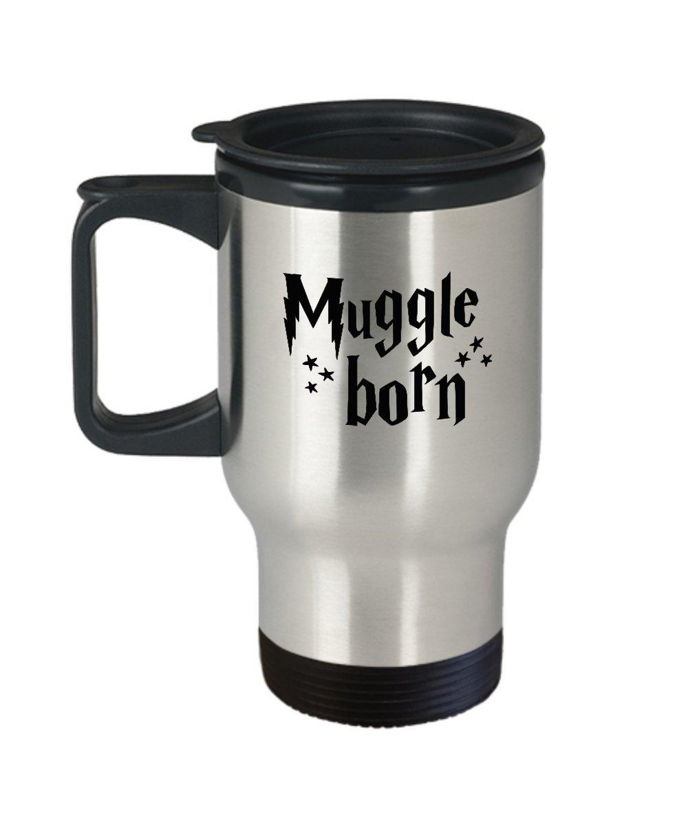Muggle nacido café taza de viaje, acero inoxidable con ...