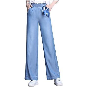 Tencel Jeans Mujer Nueve puntos Pantalones anchos de ...