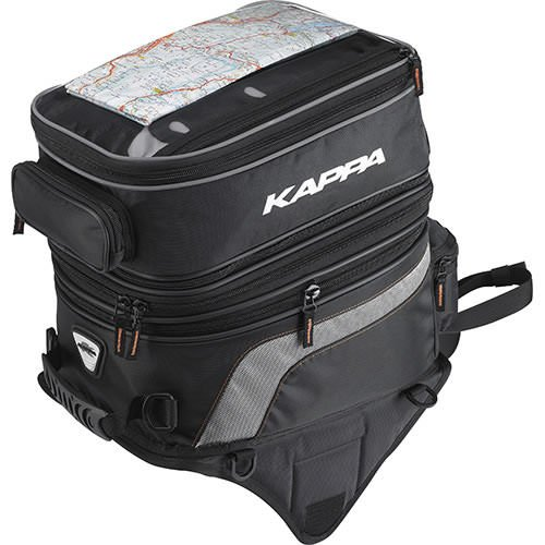 Double tank bag formed of 2 parts that can be separated, expandable, with transparent map holder pocket, on the top-side. (Tank Map Holder)