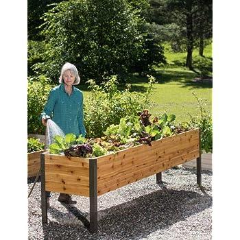 Gardener's Supply 2 Ft x 8 Ft Raised Garden Bed Elevated Cedar Planter on