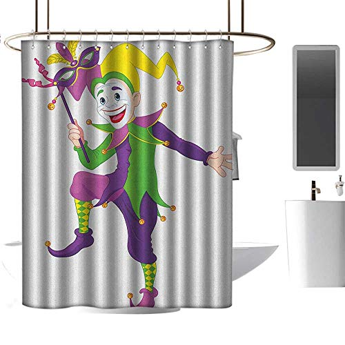 Qenuan Shower Curtain Mardi Gras,Cartoon Style Jester in Iconic Costume with Mask Happy Dancing Party Figure, Multicolor,Eco-Friendly,Bathroom Curtain 72