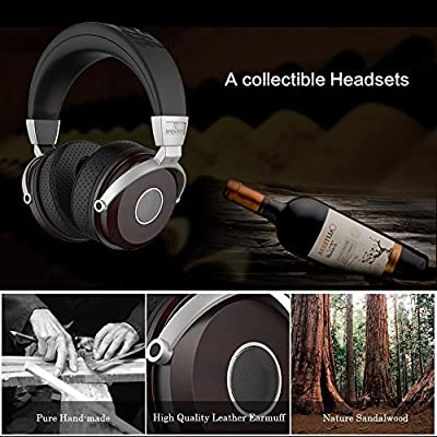 Langsdom®premium Genuine Wood Headphones Over-ear Noise Cancelling Stereo Natural Audio Surround Sound Extremely Soft Earpads Headset Suit for Kids Girls Men and Women