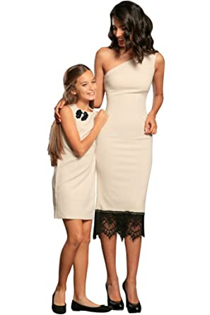 f497ddf3a9 PINEAPPLE CLOTHING Cute Beige Stretchy Mother Daughter Matching Dresses 3 4