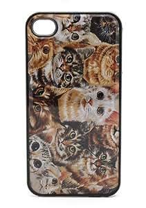 BLACK Case For Apple Iphone 4/4S Case Cover Plastic - Cat Overload Feline Eyes Cute