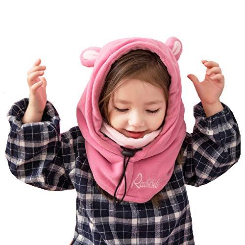 (Azarxis Kids Balaclava Ski Mask Full Face Neck Warmer Caps Hat Hood Fleece Wind Protector Cute Animal Windproof Thermal Winter Wear Gear for Boys Girls Children (Pink - Rabbit))