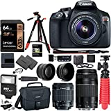 Canon EOS Rebel T6 DSLR Camera Kit, EF-S 18-55mm is II Lens, EF 75-300mm III Lens, RitzGear Wide Angle, Telephoto Lens, 64GB and...