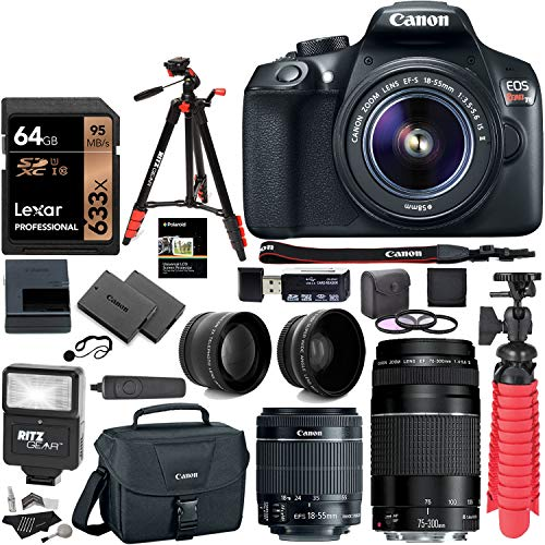 Canon EOS Rebel T6 DSLR Camera Kit, EF-S 18-55mm is II Lens, EF 75-300mm III Lens, RitzGear Wide Angle, Telephoto Lens, 64GB and Accessory Bundle (Best New Canon Dslr)