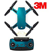 SopiGuard 3M Gloss Teal Precision Edge-to-Edge Coverage Vinyl Sticker Skin Controller 3 x Battery Wraps for DJI Spark