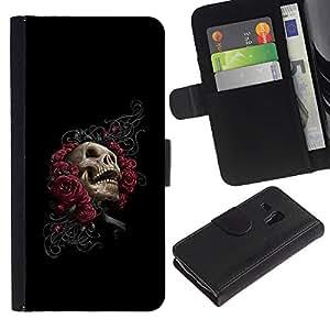 Protector de cuero de la PU de la cubierta del estilo de la carpeta del tirón BY RAYDREAMMM - Samsung Galaxy S3 MINI 8190 - Floral del cráneo de Rose - Goth