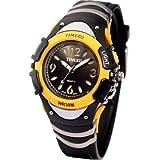 Time100 Multifunction LCD Fancy Yellow Bezel Digital Watches#W40001M.02A