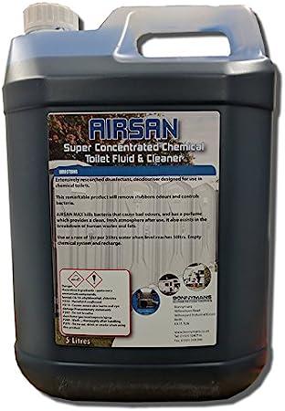Líquido limpiador de WC químico Airsan para campings y caravanas, 5 litros