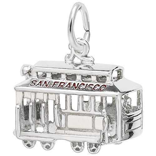 San Francisco Cable Car Charm In Sterling Silver, Charms for Bracelets and Necklaces ()