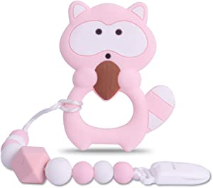 Baby Raccoon Teething Toys,BPA Free Food Grade Silicone Teether with Pacifier Clip,Highly Effective Pain Relief for Boy and Girl,Freezer Safe Teething Egg (Pink)