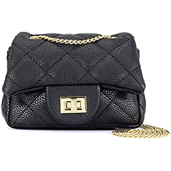 3e88c967c345 CMK Trendy Kids Quilted Embossed PU Leather Kids Purse for Little Girls  with Metal Chain (