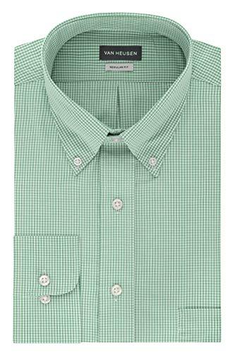 Chicory Apparel - Van Heusen Men's Regular Fit Gingham Button Down Collar Dress Shirt, Green Chicory, Medium