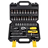 DEKOPRO Socket Wrench 46-Piece Mixed Auto Repair Tool Set Hand Tool Kit with Plastic Toolbox Storage Case Black