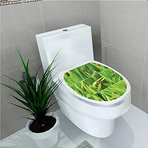 Ladybug Clogs - Bathroom Toilet seat Sticker Decal Ladybug Over Fresh Grass Collection in Divided Collage Vibrant Life Lawn Foliage Theme W8 x L11