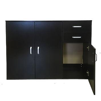 Madera mueble de cocina armario 3 puertas 2 cajones Armario negro y ...
