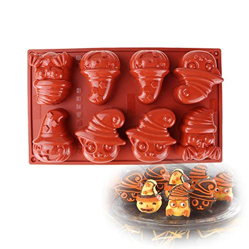 8 Hole Halloween Supply Cartoon Mask Clown Shaped 3D Diy Baking Dessert Silicone Mold Mould Molds for Cupcake Chocolate Pudding Kitchen]()