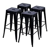 Bar Stool Outdoor Furmax 30'' High Metal Stools Backless Indoor/Outdoor Use Stackable Bar Stools Black (4 pack)