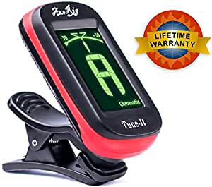 AxeRig LIFETIME WARRANTY Clip-On Chromatic Guitar Tuner for Acoustic, Bass, 6 & 12 string Guitars, Banjo, Mandolin, Ukulele, Violin, Cello, Trumpet, Brass, Sax, Flute, Woodwinds - SPARE BATTERY