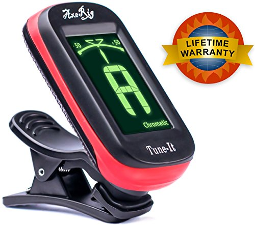 AxeRig Clip-On Chromatic Guitar Tuner for Acoustic, Bass, 6 & 12 string Guitars, Banjo, Mandolin, Ukulele, Violin, Cello, Trumpet, Brass, Sax, Flute, Woodwinds - SPARE BATTERY (Bass Sets Saxophone)