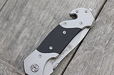 Smith & Wesson SWFRS 8in Stainless Steel Folding Knife with 3.3in Drop Point Serrated Blade and S.S. with G-10 Inlay Handle for Outdoor Tactical Survival and Everyday Carry by Smith & Wesson LLC