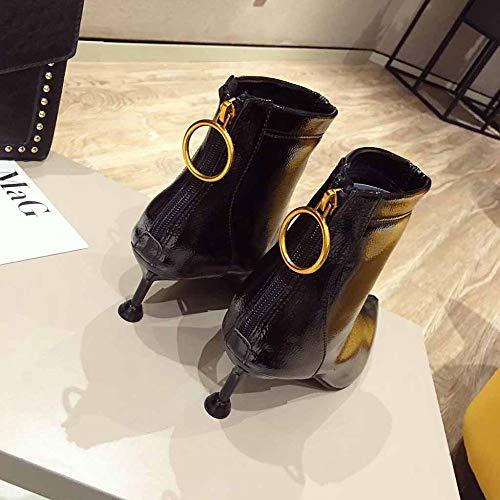 Sexy Artificiale Velluto Punta Ufficio Martin Inverno A Spillo Stivali Tacchi Da Più Laccato Black Pu Caldo Scarpe qSEHnTWwA