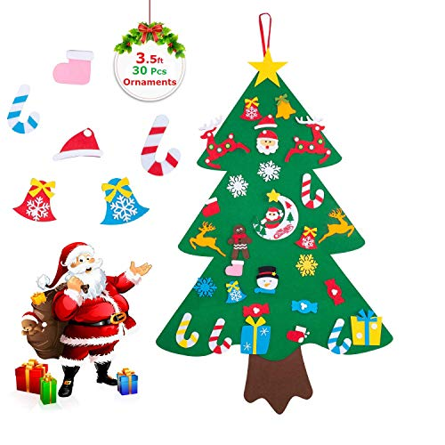 COCOMOON 35ft Felt Christmas Tree for Kids Outgeek with 30 Pcs Ornaments Wall Decor with Hanging Rope for Kids Xmas Gifts Home Door Decoration 35 FT