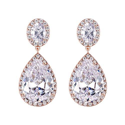 - EVER FAITH Women's Oval-Cut & Pear- Shape CZ Wedding Teardrop Dangle Earrings Clear Rose Gold-Tone