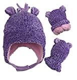 N'Ice Caps Little Girls and Baby Sherpa Lined Fleece Hat Mitten Set with Ears (Purple Fuzzy Infant, 6-18 Months)