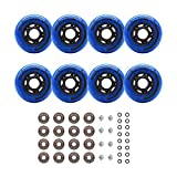 Rollerex Inline Skate/Rollerblade Wheels VXT500 80mm (8-Pack or 2-Pack or 2 Wheels w/Bearings, Spacers and Washers) (72mm Deep Sea Blue (8 Wheels w/Bearings, spacers and washers))