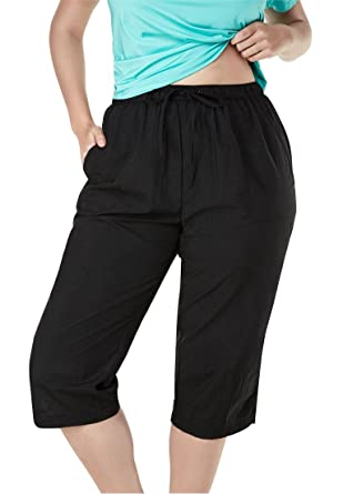 Swim 365 Women's Plus Size Taslon Elastic Waist Cover-Up Capris ...