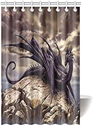 Fantasy Ancient Dragon Waterproof Bathroom Decor Fabric Shower Curtain Polyester 48 X 72 Inches