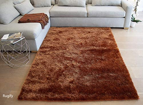 Solid Soft Shag Shaggy Fluffy Fuzzy Furry Hand-Woven Decorative Modern Contemporary Designer Smooth Non-Skid Plain Living Room 8-Feet-by-10-Feet Polyester Made Area Rug Carpet Rug Rust Orange Color