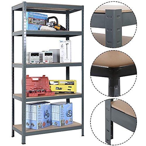 FCH Large Capacity 5 Tier Shelf Height Adjustable Heavy Duty Storage Rack Shelf Garage Steel Metal Shelving Unit (GRAY, (High Capacity Boltless Shelving)