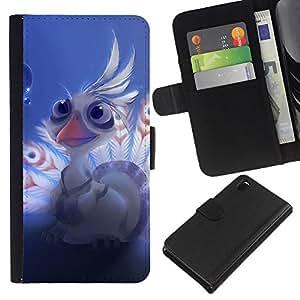 KLONGSHOP // Tirón de la caja Cartera de cuero con ranuras para tarjetas - Señor shen pavo real lindo - Sony Xperia Z3 D6603 //