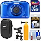 Nikon Coolpix W100 Wi-Fi Shock & Waterproof Digital Camera (Blue) with 32GB Card + Case + Floating Handle + Bike Mount + Kit