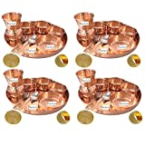 Set of 4 Prisha India Craft Indian Dinnerware Pure Copper Thali Set Dia 12'' Traditional Dinner Set of Plate, Bowl, Spoons, Glass with Napkin ring and Coaster - Christmas Gift
