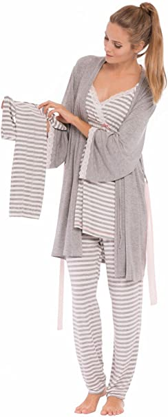 Olian Maternity Anne Stripes 4-Piece Nursing PJ Set with Baby Outfit