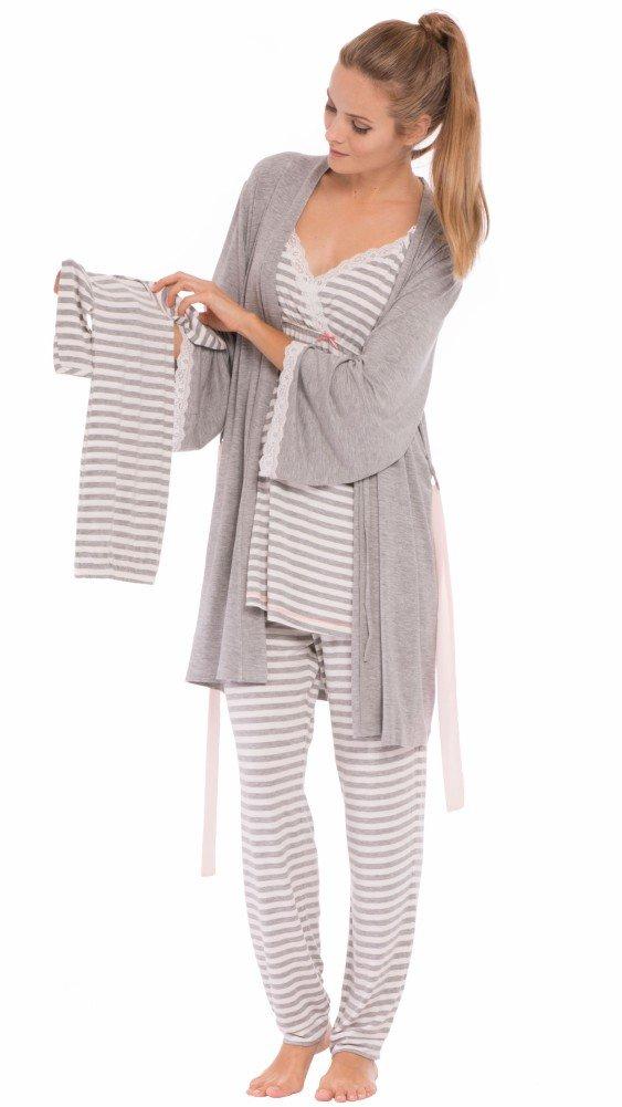 Olian Maternity Anne Stripes 4-Piece Nursing PJ Set with Baby Outfit O-998-DA-70