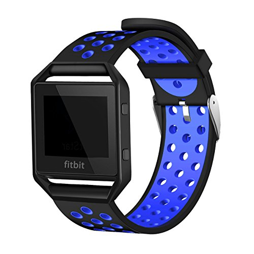 top4cus sport silicone replacement watch band with frame for fitbit blaze (Black & Blue, Large)