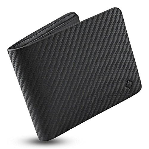 EGNT Genuine Leather Mens RFID Carbon ID Wallet Slim Credit Card Holder Minimalist