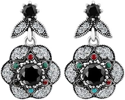 Bohemia joyería retro mirar cristal flor pendiente para las mujeres color plata compromiso pendientes de fiesta accesorios de fiesta