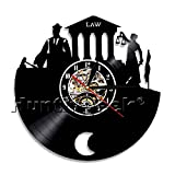 Scale of Justice and Gavel Wall Art Law Barrister Clock Law Firm Vinyl Record Wall Clock Courtroom Clock Gift For Lawyer (Without LED)