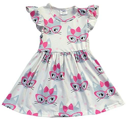 (Little Girl Dress Kids Lovely Cap Sleeve Cat Party Flower Girl Dress Off White 2T XS)